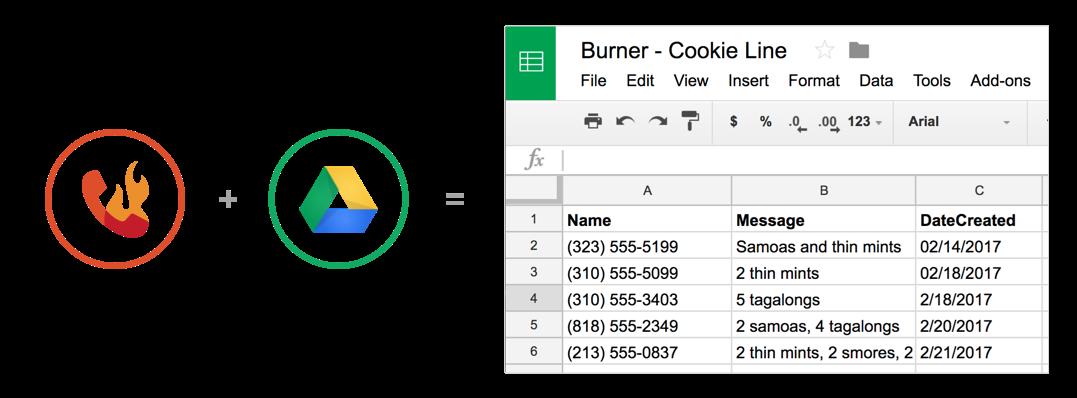 Burner's Google Sheets integration