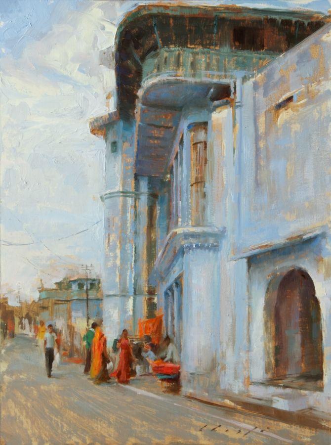 12Sep01 _The old blue Building- City of Pushkar, India_ 12x16 Oil_small.jpg