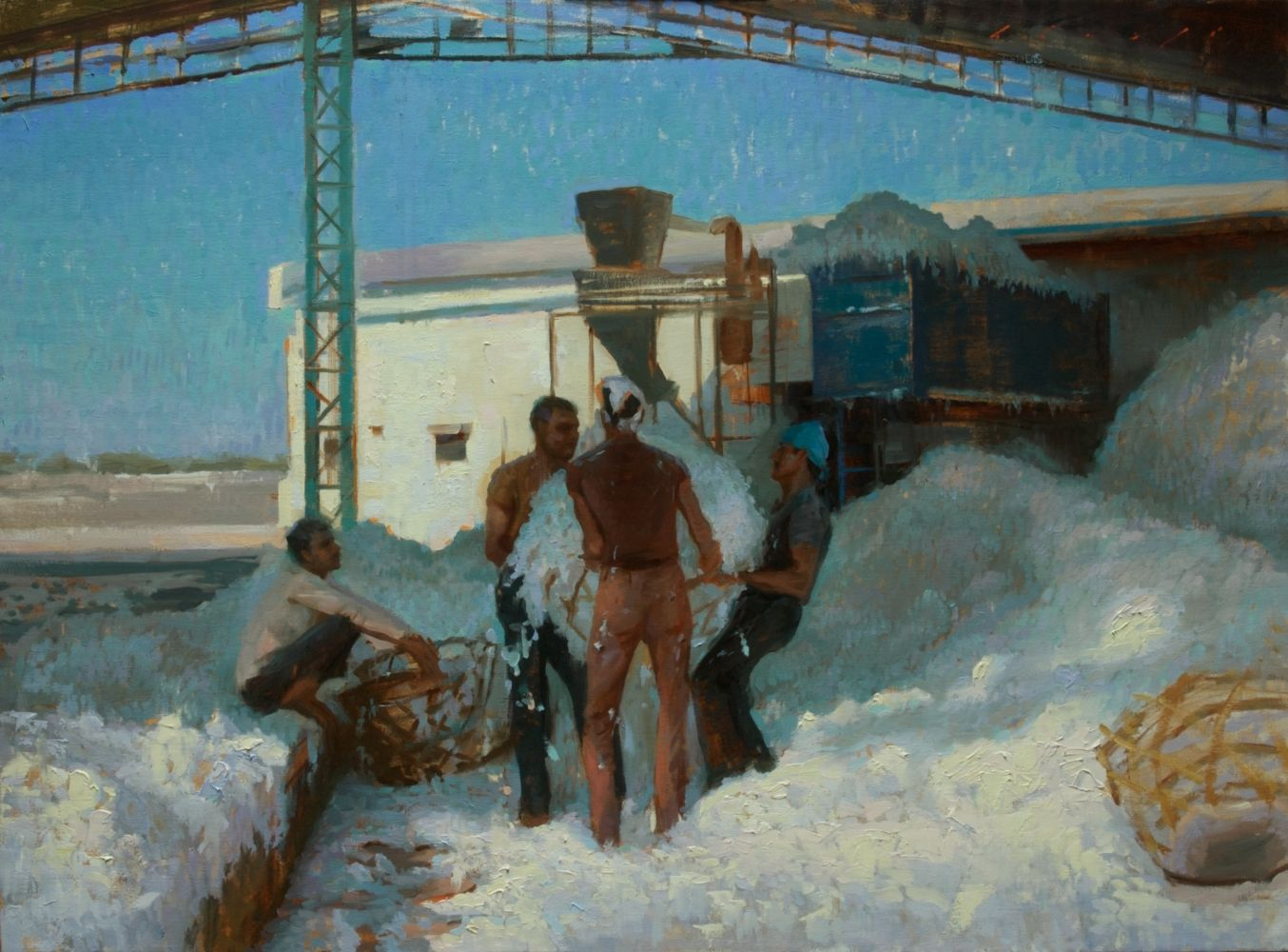 14Apr05 Blue Harmony at Work at a Cotton Factory 28x38 Oil_small.jpg