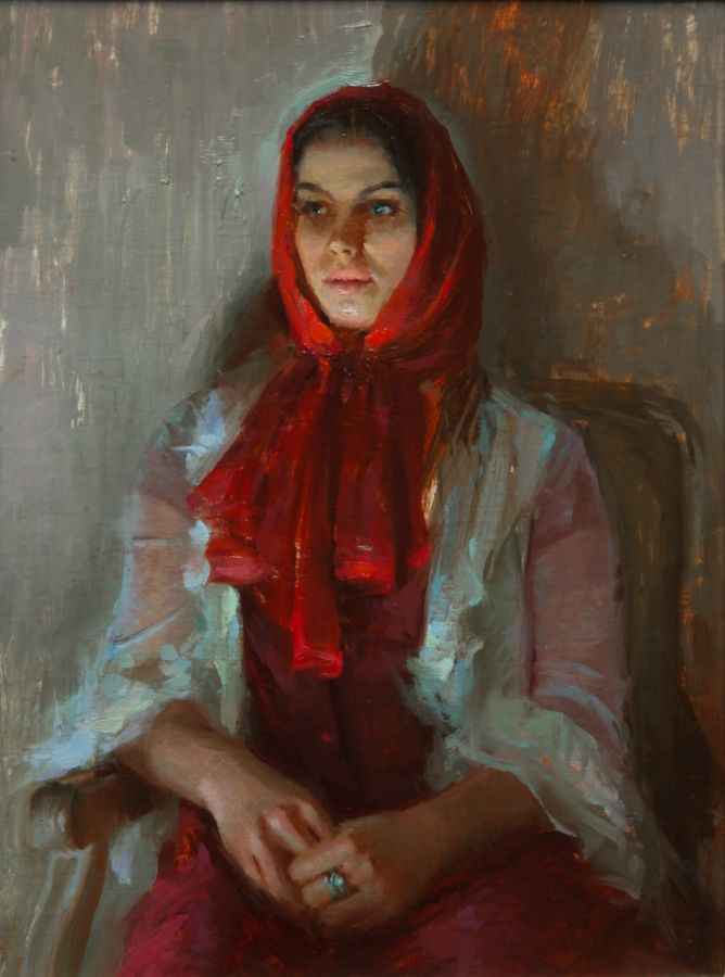 """Marushka in Red Scarf""    12 x 16 inches"