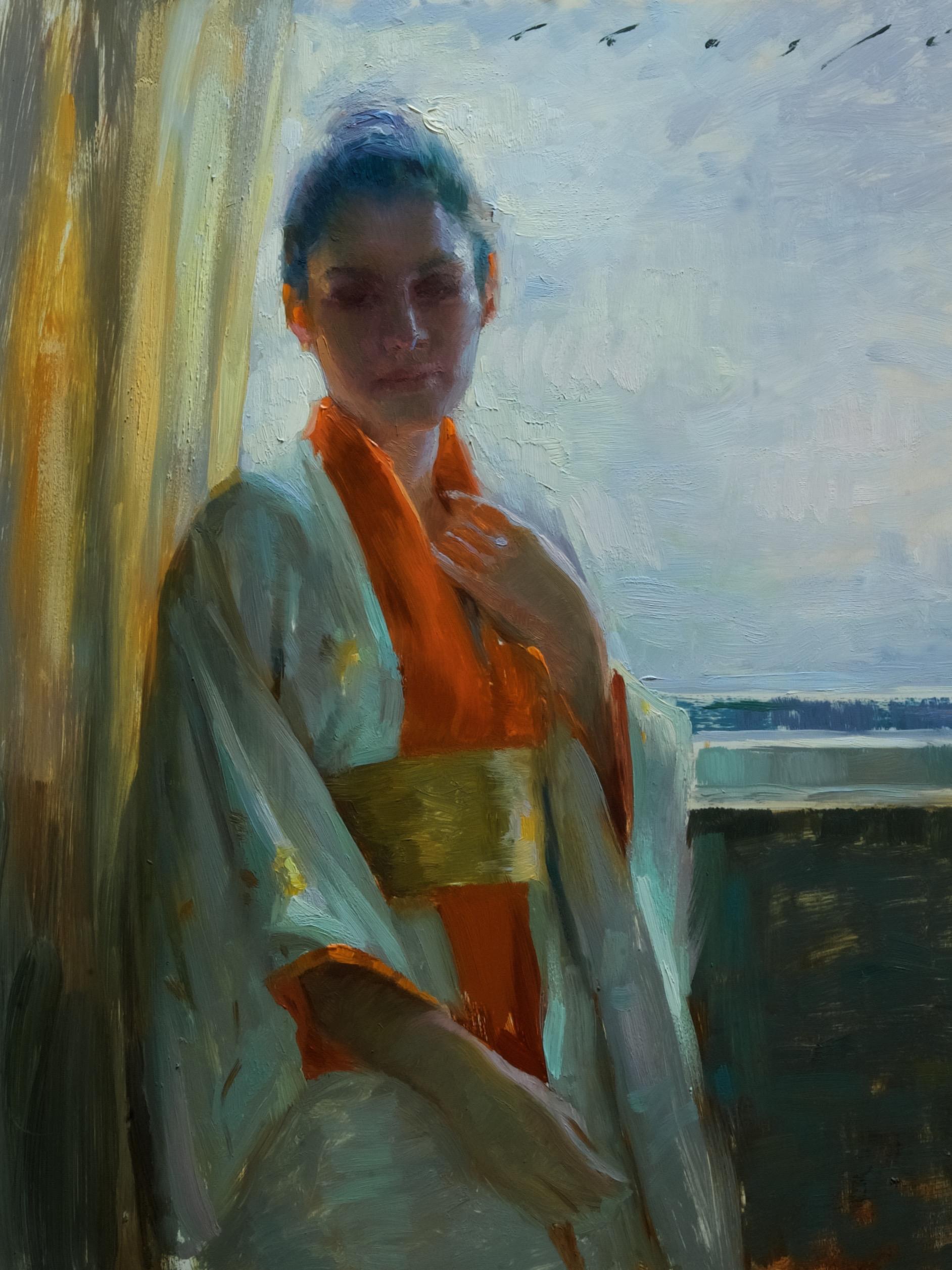 """Backlit in Kimono""   14 x 18 inches"
