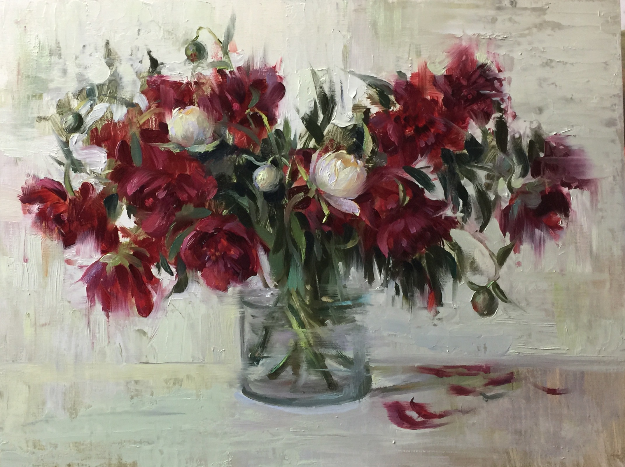 """""""Blood Red Peonies in Abstraction""""    18 x 24 inches"""