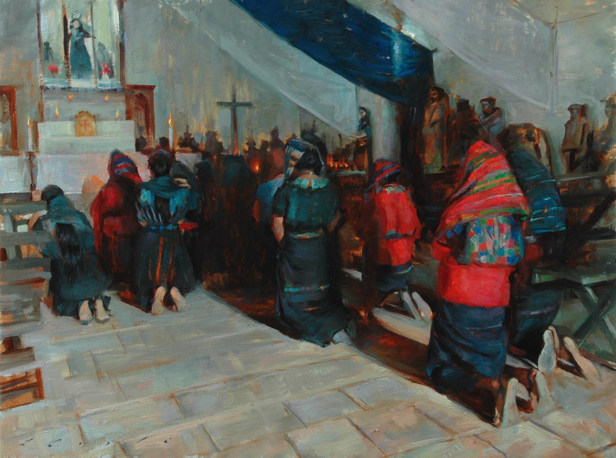 """""""Mujeres Rezando en una iglesia""""    26x 32 inches"""