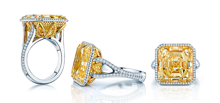 An amazing Birks & Mayors engagement ring featuring a large 16-carat yellow Asscher cut diamond.