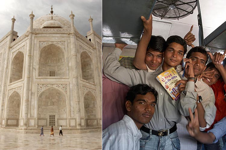 India's Taj Mahal and a young students looking forward to the new booming economy