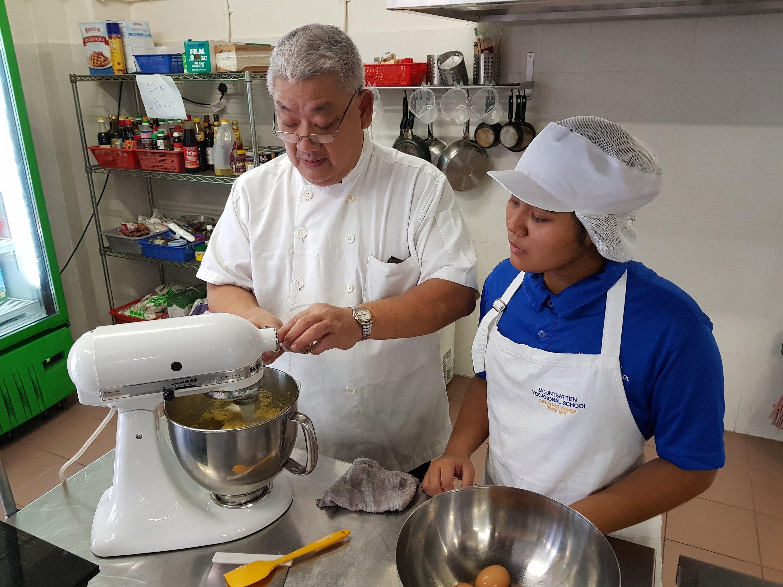 Mountbatten Vocataional School Chef Instructor Larry Loh with Student Farhana.jpg