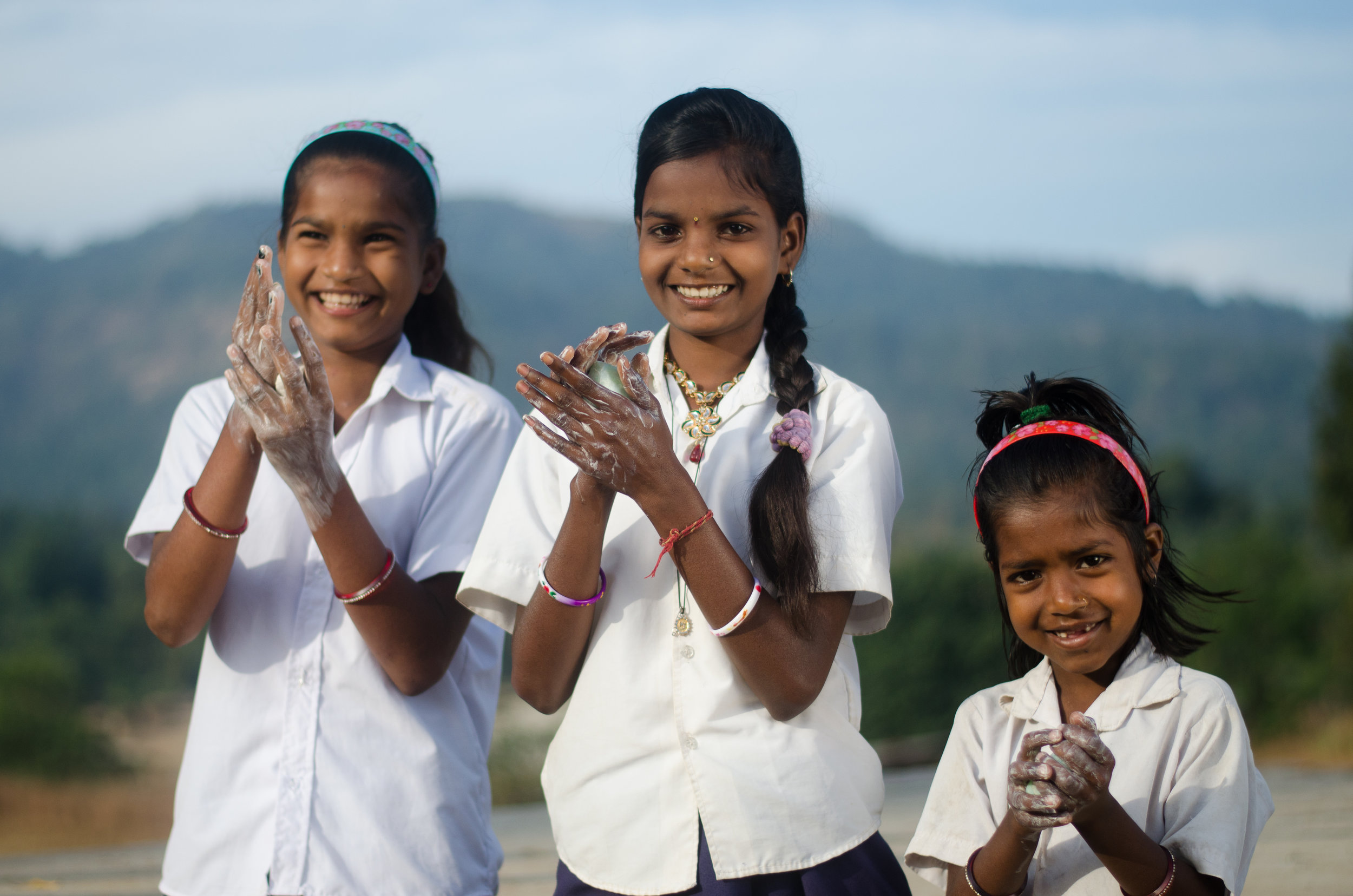 Tribal School Girls using the Sundara Soap.jpg