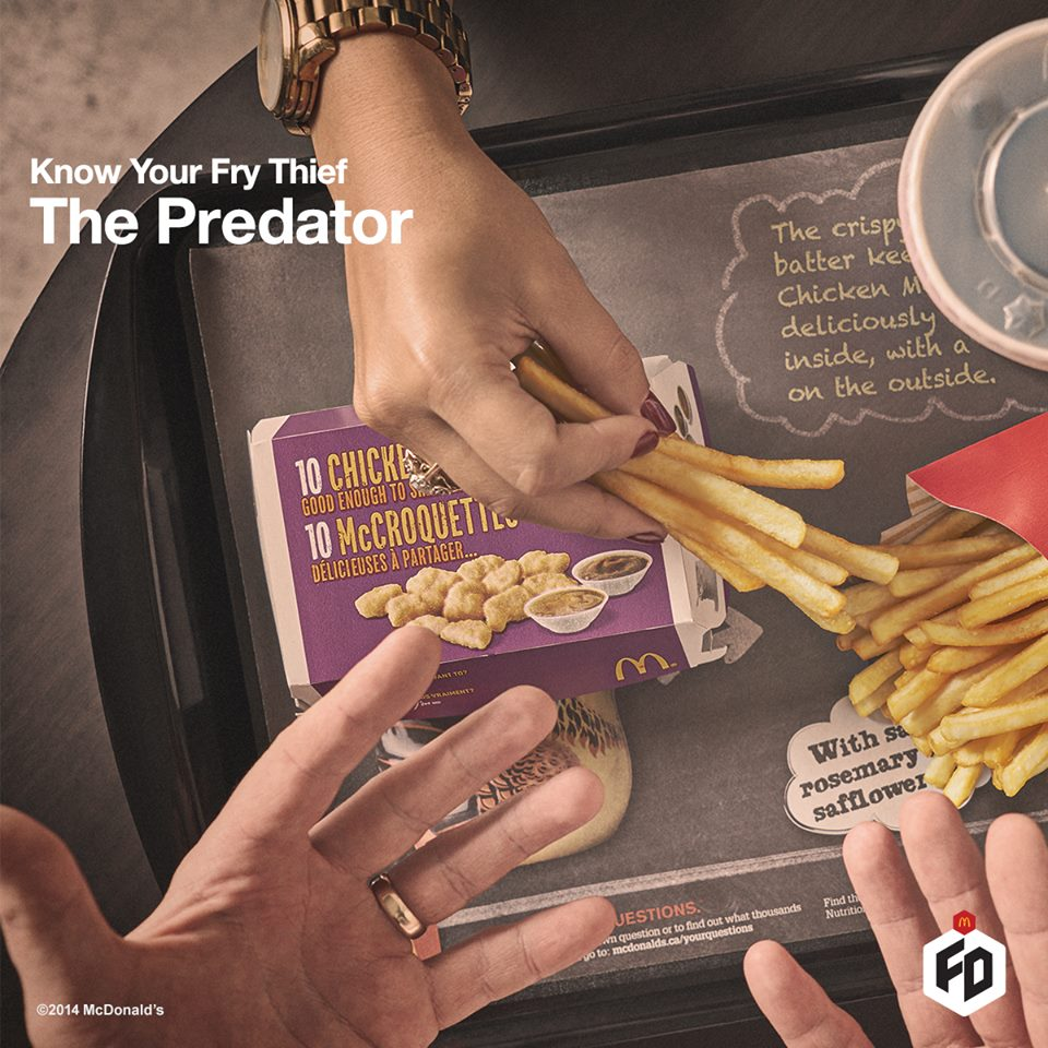"Incredibly aggressive, the Predator is most often your mom, best friend or bf/gf who sees nothing wrong with taking ""just a few"" fries."