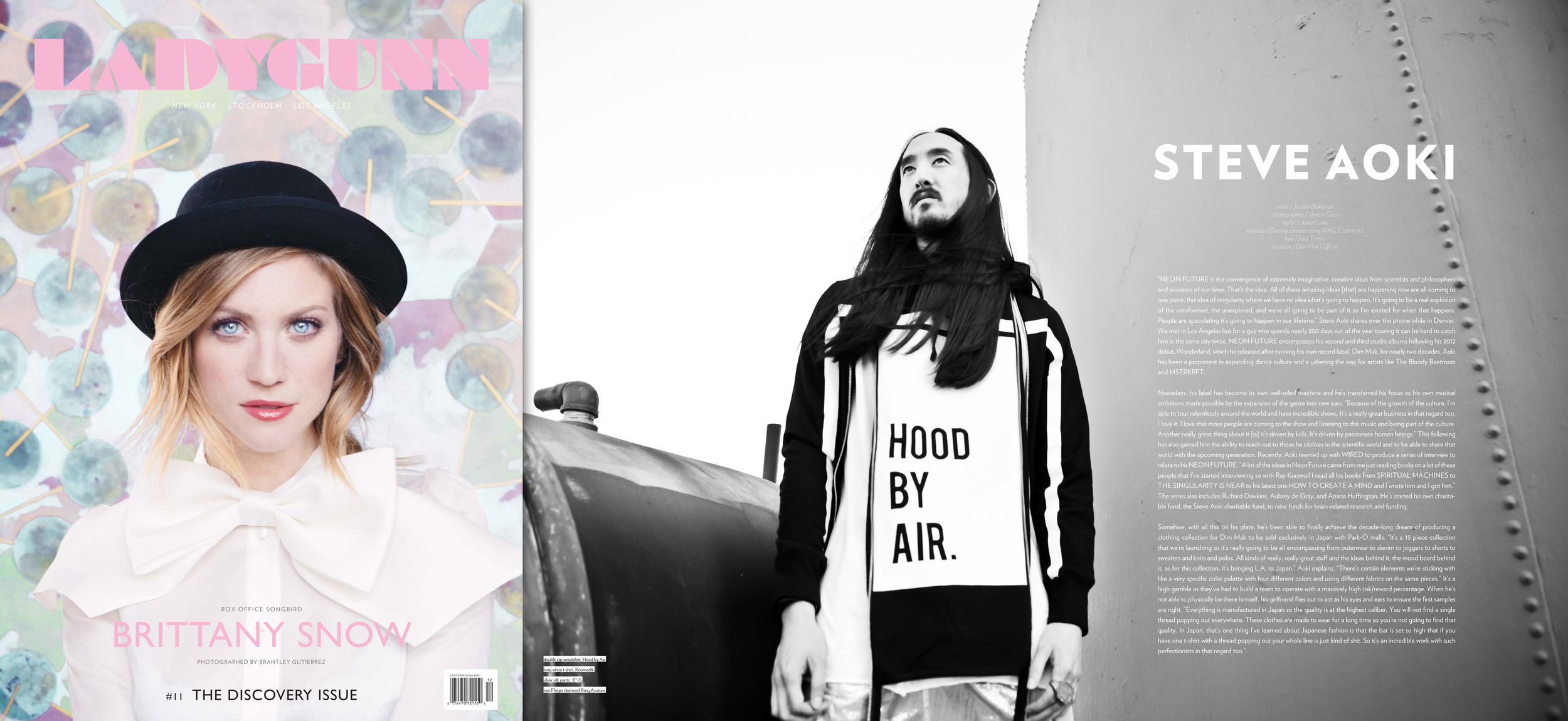 Steve Aoki featured in 'LadyGunn' Magazine #11