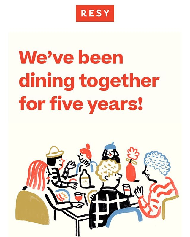 New illustration for the 5 years anniversary of @resy 🍴🥘🍗🍝🎂 . . . . #resy #5years #anniversary #letscelebrate #illustration #yum #foodies #restaurant