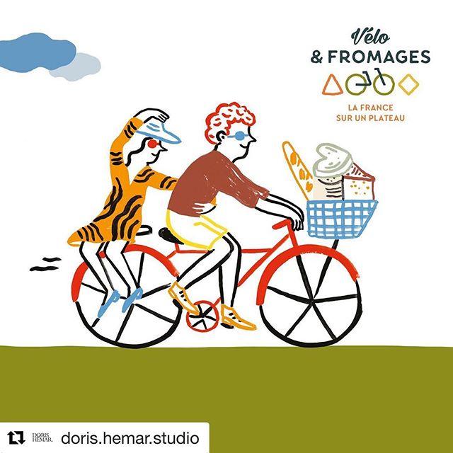Nouvelles illustrations pour @veloetfromages en collaboration avec @doris.hemar.studio qui a crée l'identité visuelle ! Des itinéraires affinés pour pédaler, découvrir et se régaler à travers les départements @le_tour_des_departements . . . . #dorishemarstudio #artdirection #illustration #marieassenat #illustration #graphicdesign #veloetfromages #velo #fromage #departements #bicyclette #tourdefrance