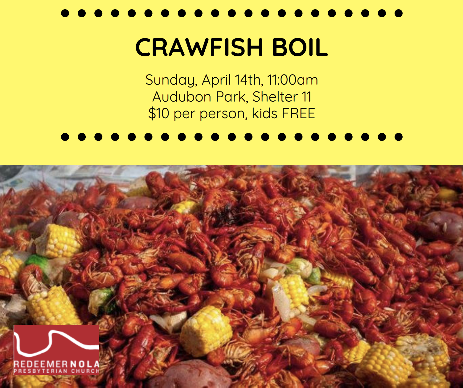 Join us for a crawfish boil at Audubon Park!