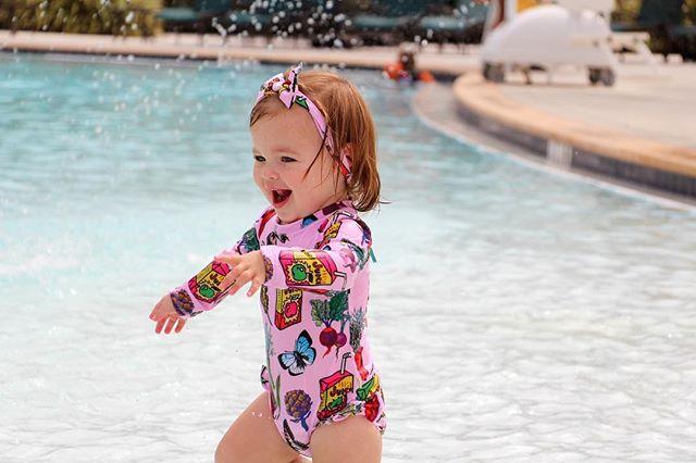 Laughter sparkles ✨ like a splash of water in sunlight☀️ • KRIOBABY looking adorable in Veggie bodysuit #upf50 • • • #kriocolor #kriocolorswimwear #children #childrenswimwear #kidsfashion #kidsswimming #kidsswimsuit #adventure #summertime