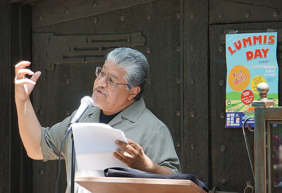 Los Angeles Poet Laureate Luis J. Rodriguez, known for his animated and emotional readings, WAS among the artists appearing at Mariachi Plaza.