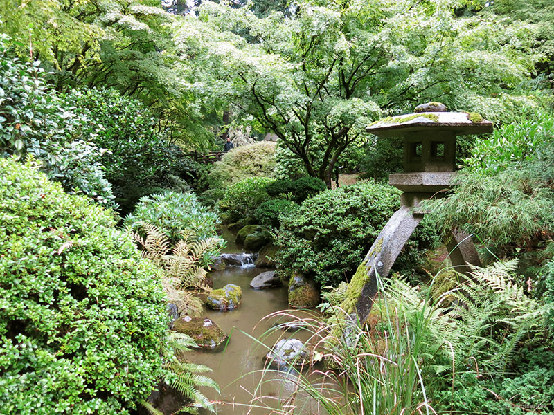 The Portland Japanese Garden has views to reward you with in every direction you turn. I love the dense and layered textures the greenery created here. Can you find the bridge with the man on it?