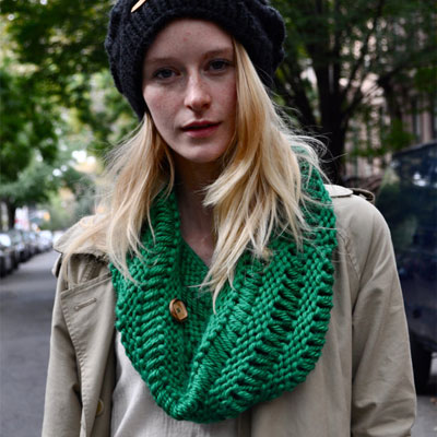HilltopKnitwear's Maughn beanie with Corco buttoned scarf