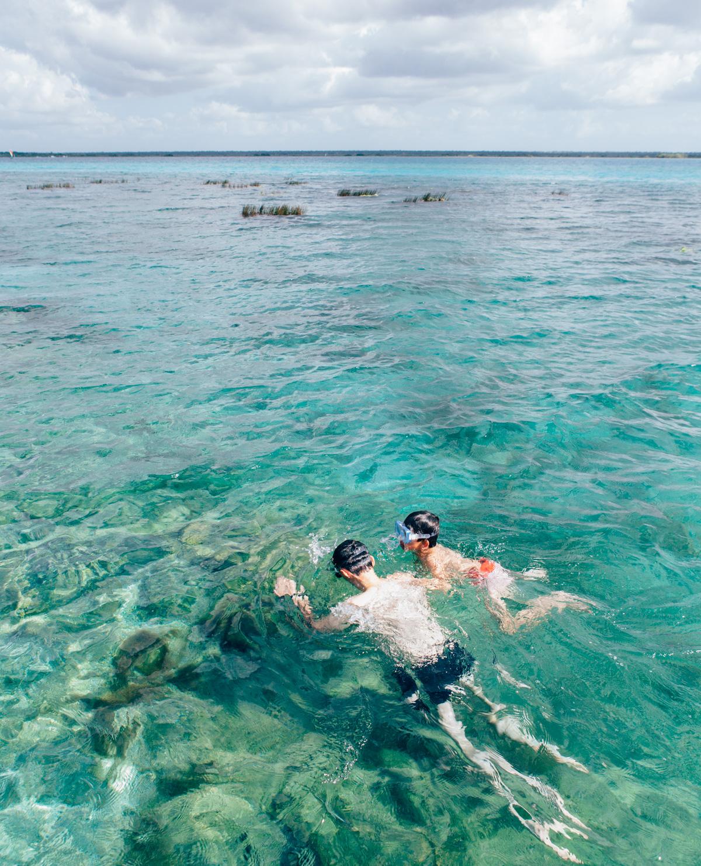 Snorkelling at Bacalar, Mexico