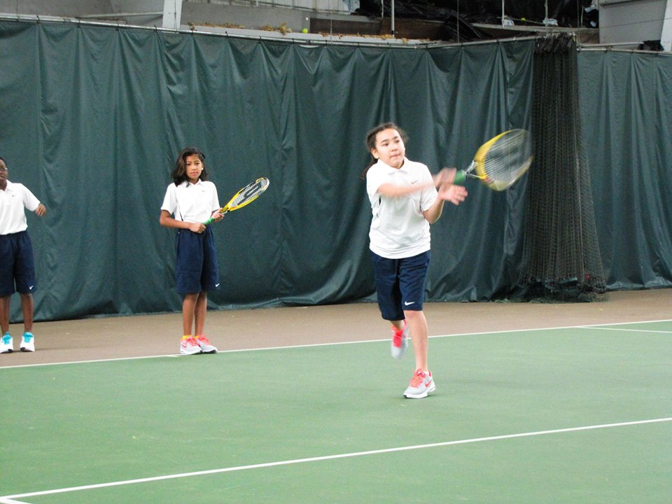 """Alicia had the opportunity to work on her forehand on Luke's court during the """"Dual-Hand Luke"""" junior clinic at PAST&E."""