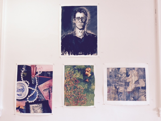 Works by Sam Bowen (top), Jane Kye, Hoshea Hart and Schuyler Alig. (L to R)
