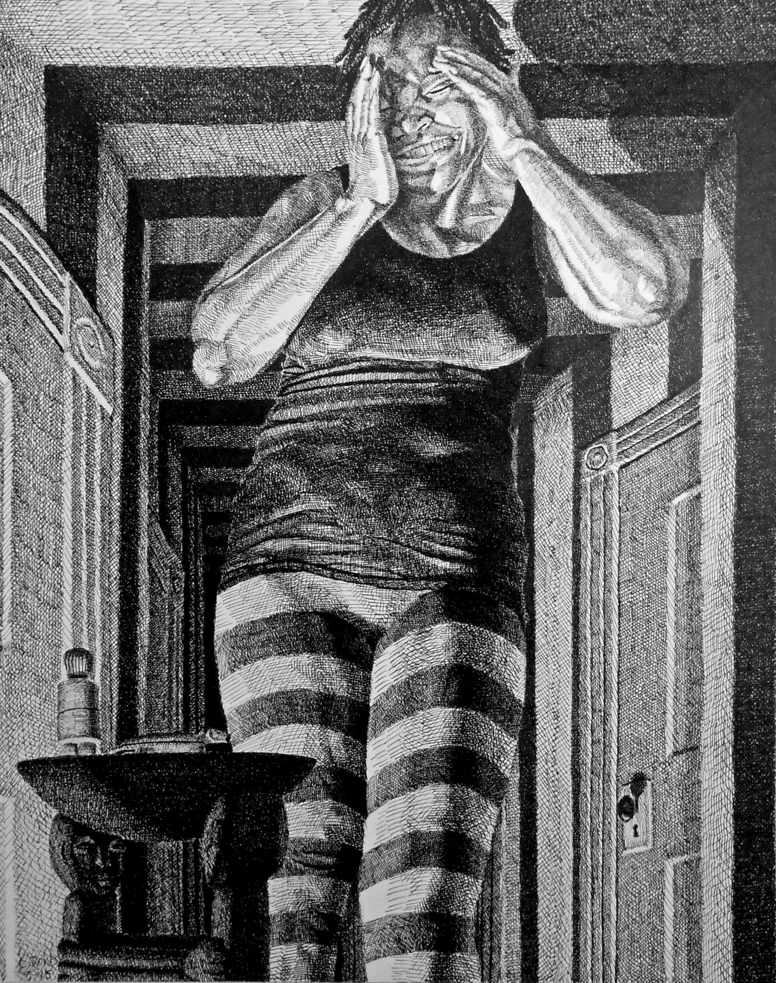 "Cavin Jones' drawing from his ""Into Wonderland"" series."