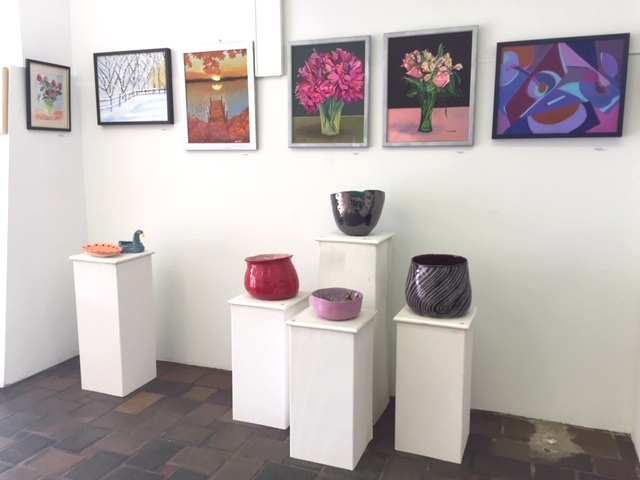 Various painting and ceramic students' work