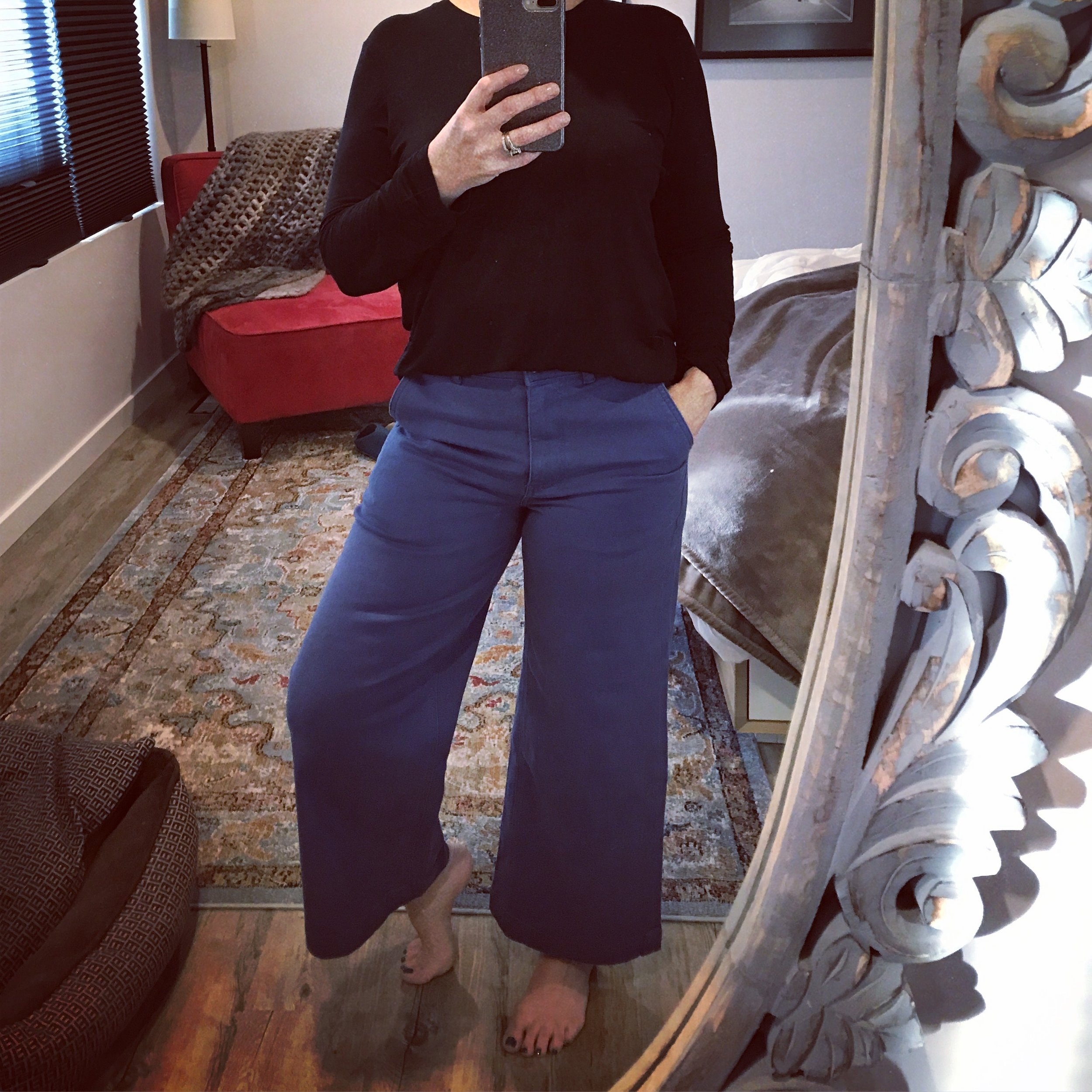 Everlane Wide Leg High Waist Cropped Pant   (not so cropped on me of course!)