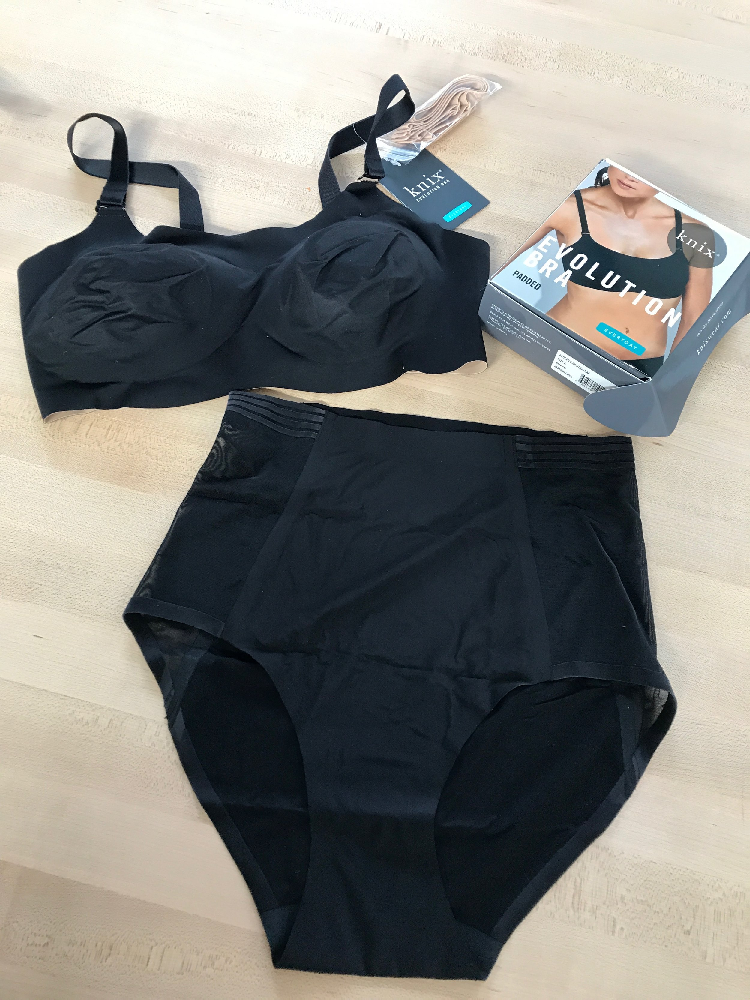 Knixwear Padded Evolution Bra and Luxe High Rise Briefs.