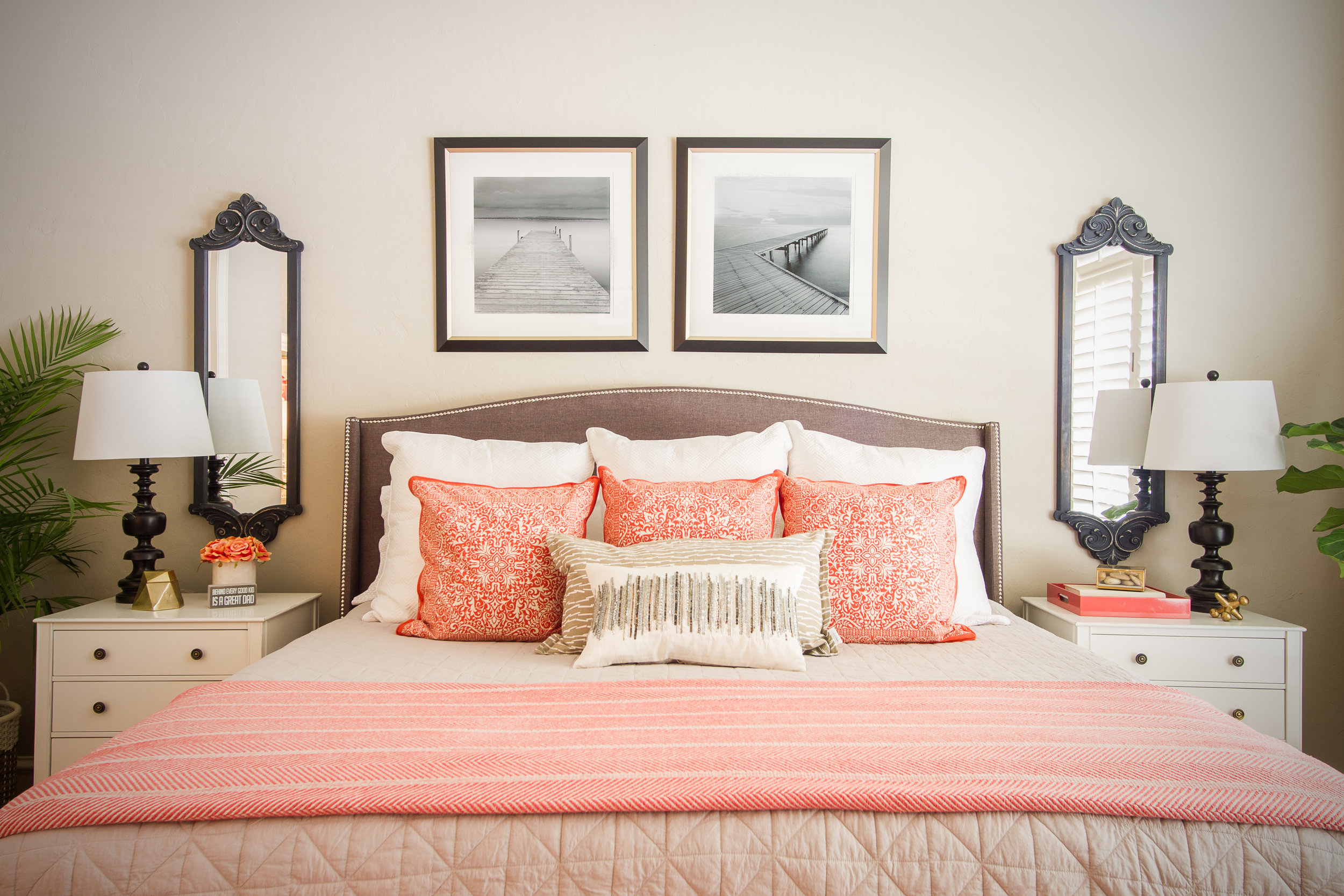 Coppell Interior Design Coral Grey Master Bedroom.jpeg