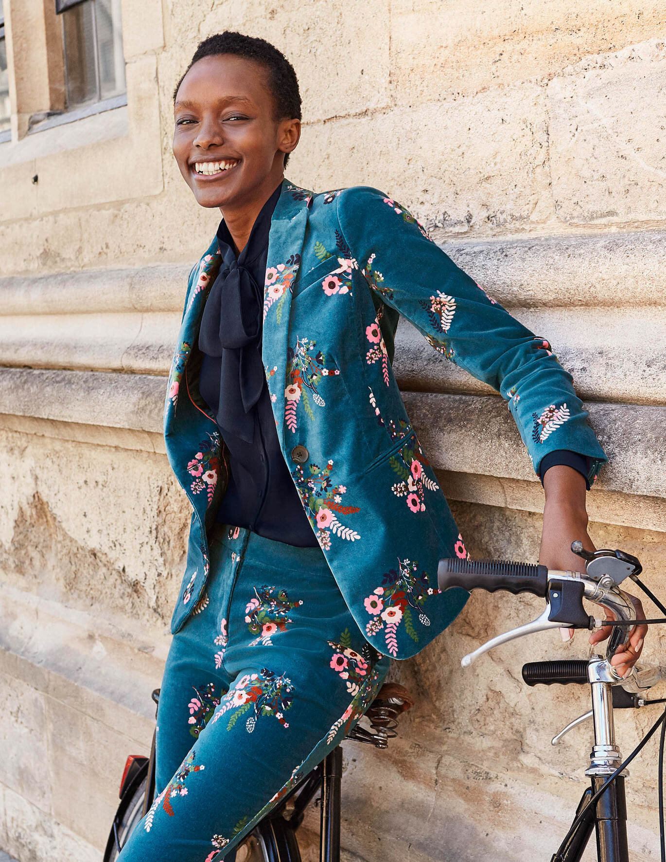 This striking velvet pantsuit from Boden will take you all the way from morning to evening.