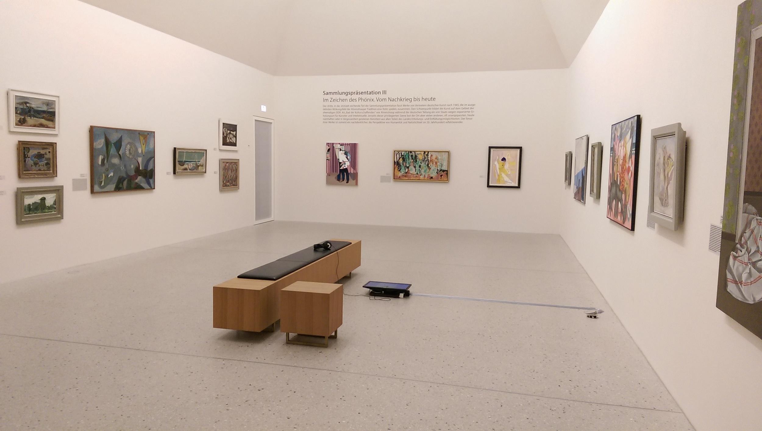 Installation view  Supplément   Kunstmuseum Ahrenshoop, Ahrenshoop, Germany  Video loop and oil on canvas  2015
