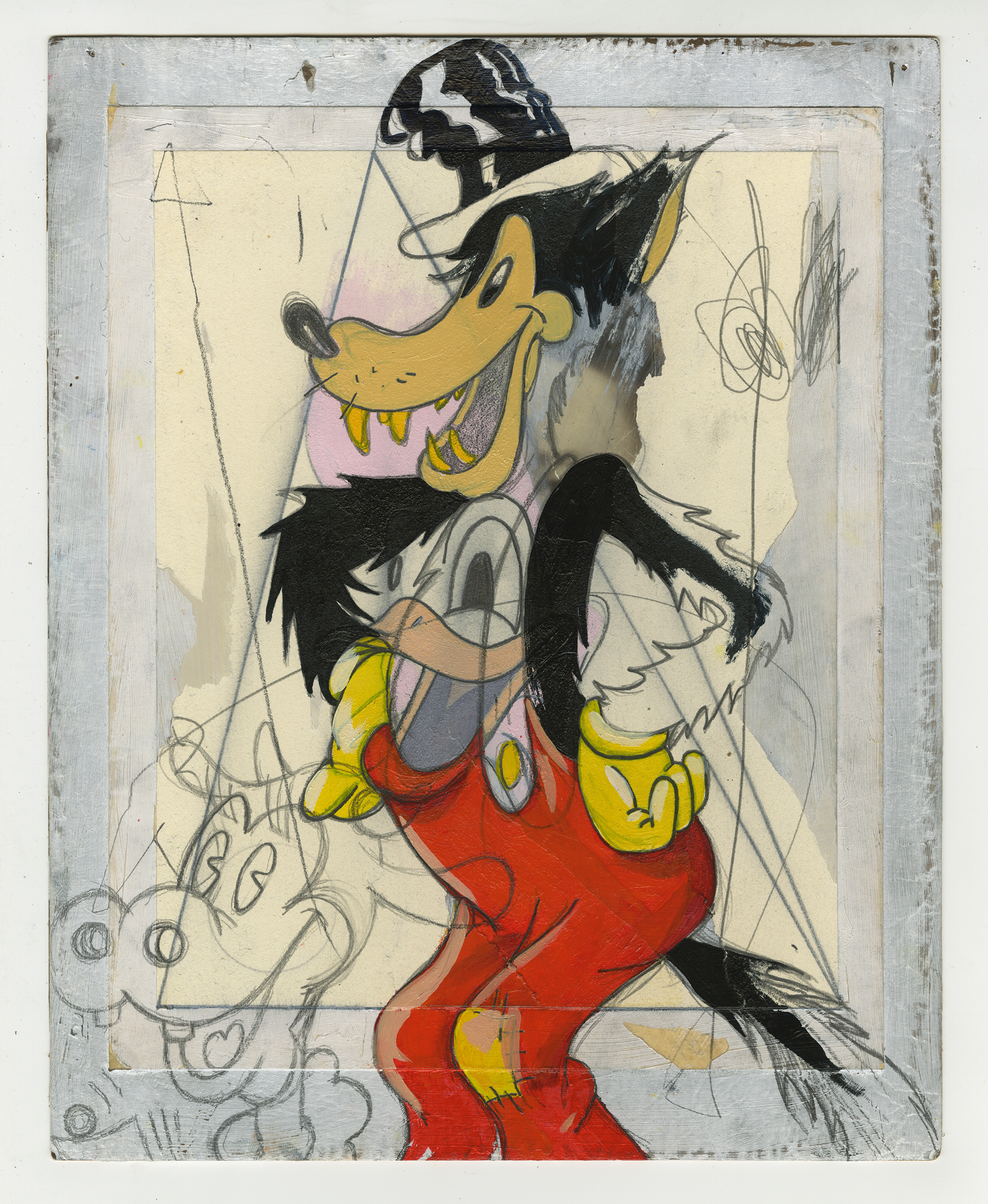 New findings come along the investigation of the archives of Ricardo Friedrich ( S.S. Hans Heidrich) located in his Argentinian mansion. Drawings like this are believed to be sketches for large scale paintings dated around 1975-78, following a style similar to Henry Darger or New Zealand artist Susan Te Kahurangi King.  Untitled. Oil, pencil and collage on cardboard. 1975-78. 31 x 25 cm.