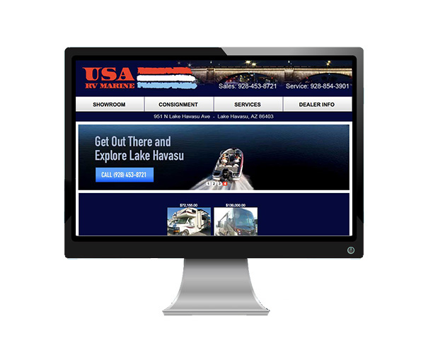 USA RV & Marine's website as viewed on a desktop computer.