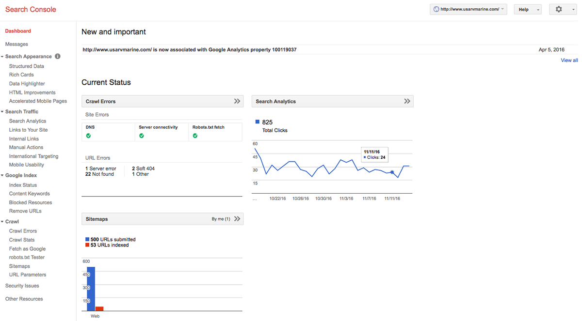 Example of what the Google Webmaster Tools dashboard looks like for www.usarvmarine.com