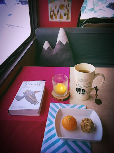 Mama's Cookies look great in every environment, including vintage motorhomes! Dr. price would approve of this complete breakfast: mama's cookies, satsuma, and teeccino herbal coffee with goat's milk!