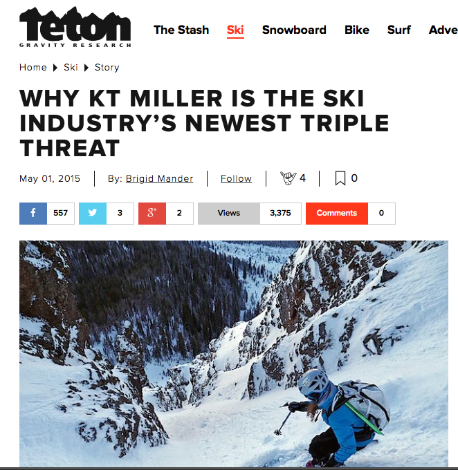 Teton Gravity.com, May, 2015    A chat with the low key yet super-skilled ski mountaineer, photographer and Montana girl Kt Miller