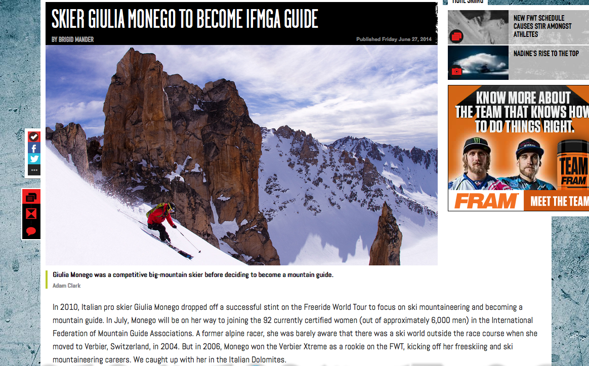 ESPN, June 24, 2014        Gulia Monego on becoming an IFMGA guide