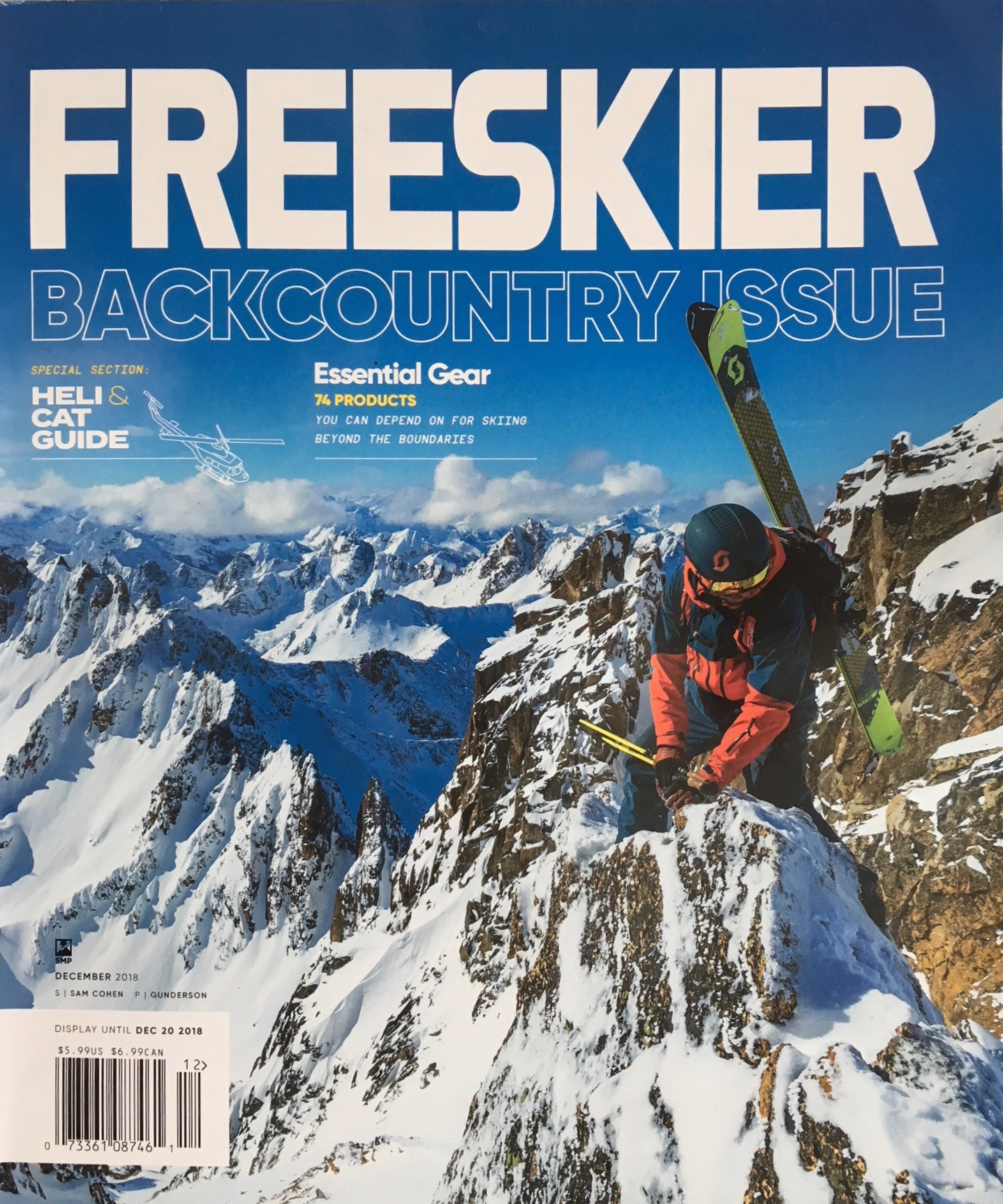 FREESKIER Magazine, December 2018     An essay explaing how the true ski bum is helping save the world through minimalist living, shunning the empty, wasteful world of over-consumerism, and finding fulfillment in conservation of resources and nature. Really!