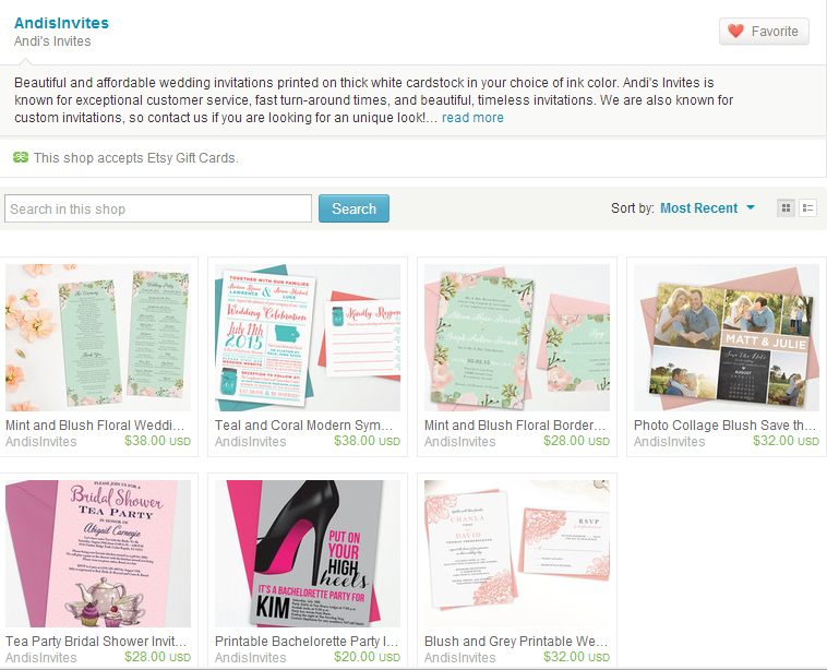 Before Andi was creating beautiful invitations but didn't know how to get her photo's to sell her products.
