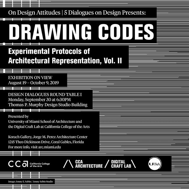 "We are excited to announce that the #CCArts #CCAArchitecture Digital Craft Lab exhibition ""Drawing Codes: Experimental Protocols of Architectural Representation, Volume II"" will be opening on August 19, 2019 at the University of Miami School of Architecture in Coral Gables, FL @u_soa @univmiami. On Monday September 30, curators Adam Marcus @radadam and Andrew Kudless @matsysdesign will give a talk on the exhibition, followed by a roundtable discussion with local faculty and practitioners. Stay tuned for details on the event! . The exhibition, the second volume in a series organized by Kudless and Marcus, features 24 experimental drawings by architects exploring the impact of new technologies on architectural representation. . The exhibition includes drawings by Aranda\Lasch (@arandalasch), Marc Fornes / THEVERYMANY (@theverymany), Madeline Gannon / ATONATON (@madeline.gannon), Höweler + Yoon (@howeleryoonarchitecture), Ibañez Kim (@ibanez.kim), IwamotoScott Architecture (@iwamotoscott), Stephanie Lin (@stephalin), V. Mitch McEwen (@therealmitchmcewen), Emma Mendel & Bradley Cantrell (@emmyloumendel @bradcantrell), Michael Meredith & Hilary Sample (@mmmosarchitects), MILLIØNS / Zeina Koreitem & John May (@millionsarchitecture), modem / Kathryn Moll & Nicholas de Monchaux (@modemgram), NADAAA/ Nader Tehrani & Matthew Waxman (@nadaaainc), Catie Newell / Alibi Studio (@alibistudio), Tsz Yan Ng w/ Mehrdad Hadighi (@tszyan5), Outpost Office (@outpostoffice), Heather Roberge / murmur (@murmur_architecture), Jenny E. Sabin / Jenny Sabin Studio (@sabinjenny), SPORTS (@sportzsports), Studio Sean Canty (@sc_sf), John Szot (@johnszot), T+E+A+M (@tpluseplusaplusm), WOJR (@wojr_org), Maria Yablonina (@maria_yablonina) . (image by @sabinjenny) . #DrawingCodes #architecture #architecturaldrawing #drawing #code #digitalcraft #exhibition #umiami #miami #florida #u_soa"