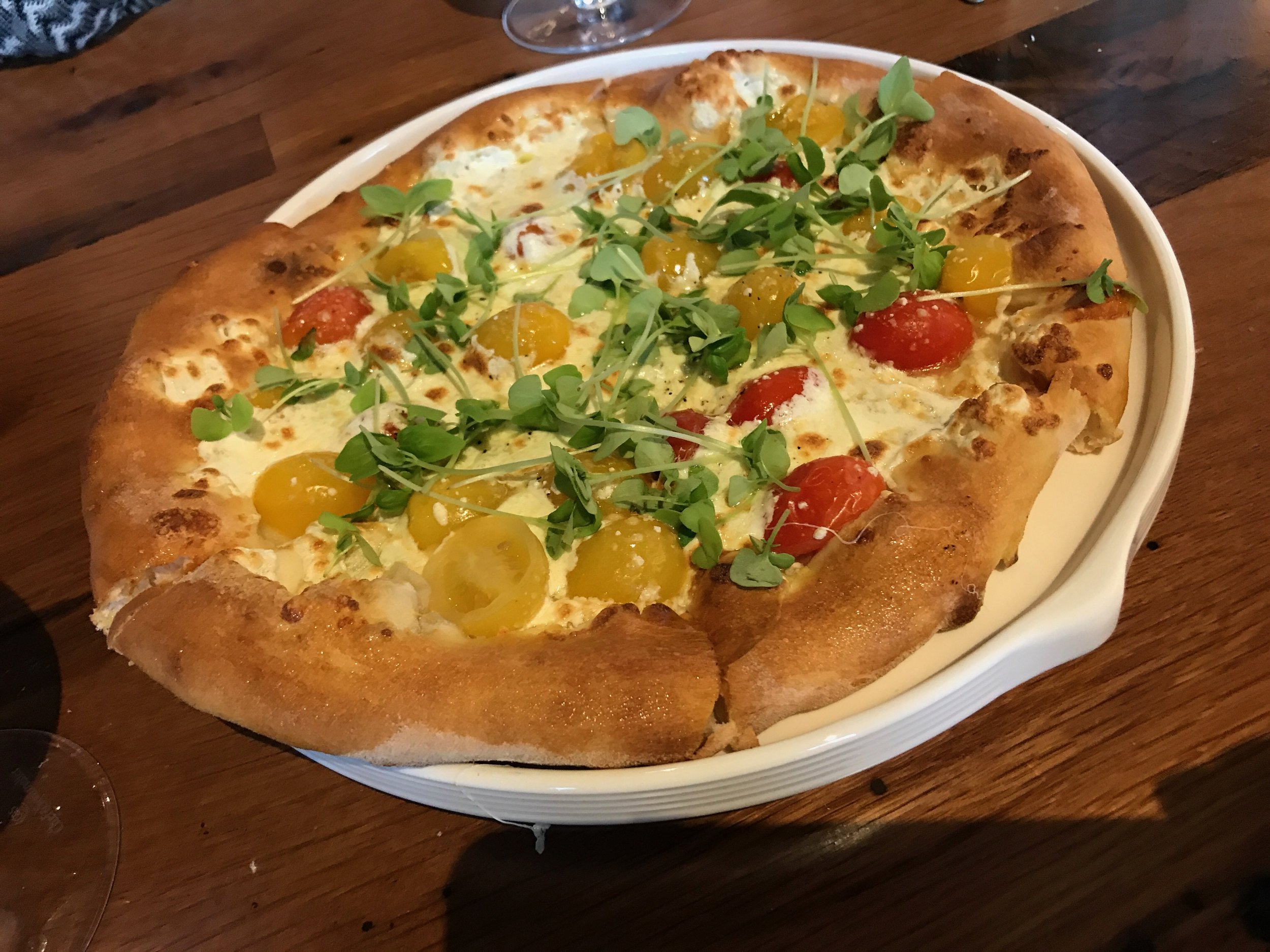 Margherita Pizza - Cherry Tomatoes Fresh Mozzarella, Basil, Olive Oil