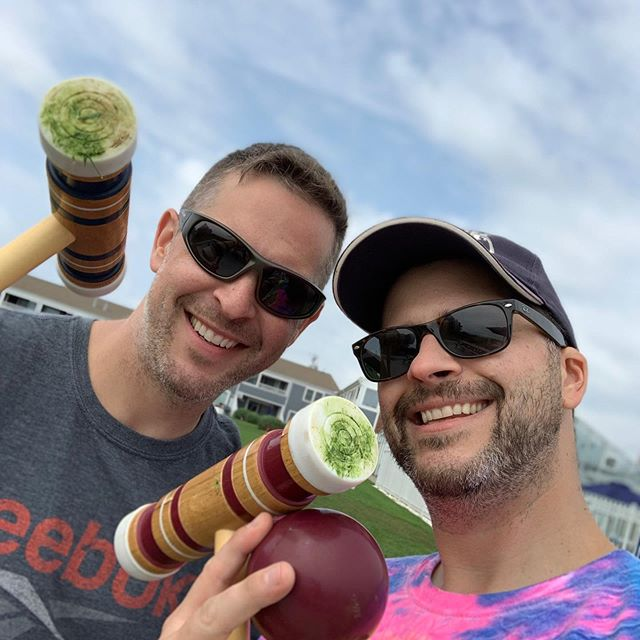 Destroyed my bro in croquet tournament. 🤟🏼 (Okay, so destroy is an over-statement.... but I won!) #family #brothers #capecod #tournament #croquet #yardgames #oldmen #zerplife