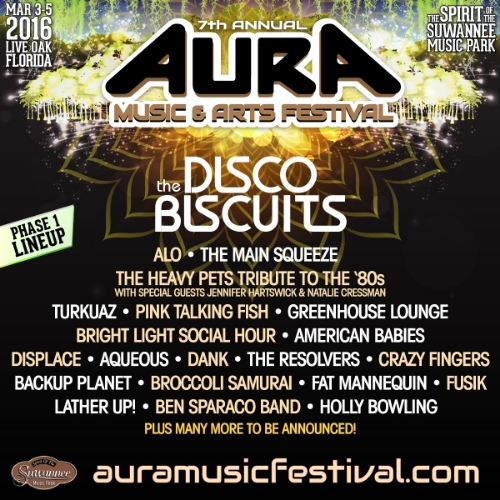 Turkuaz will perform at the  AURA Music & Arts Festival  in Live Oak, FL   March 3-5, 2016 at the Spirit of the Suwannee Music Park. Initial lineup, tickets and info -  click here !