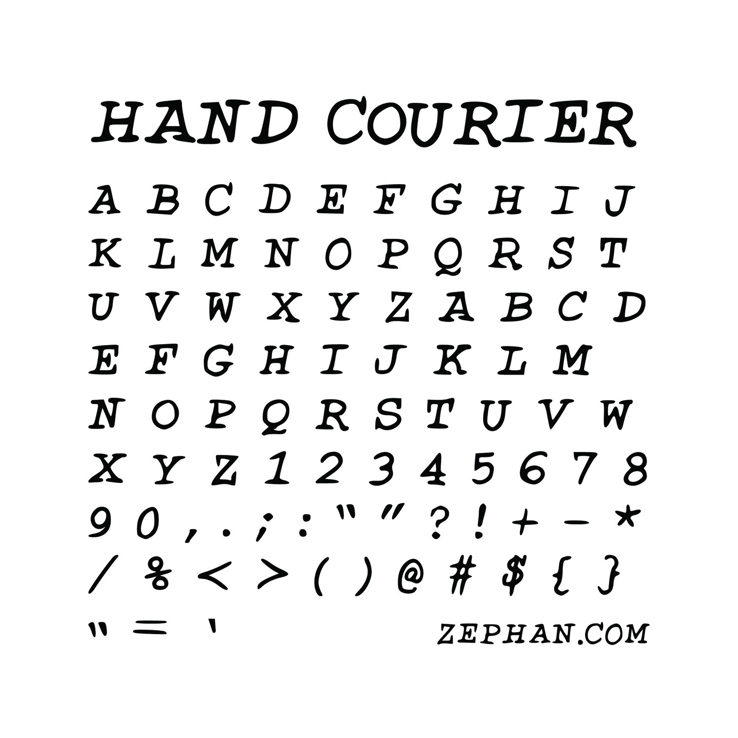 FONTS   Hand drawn Courier New.  Free!