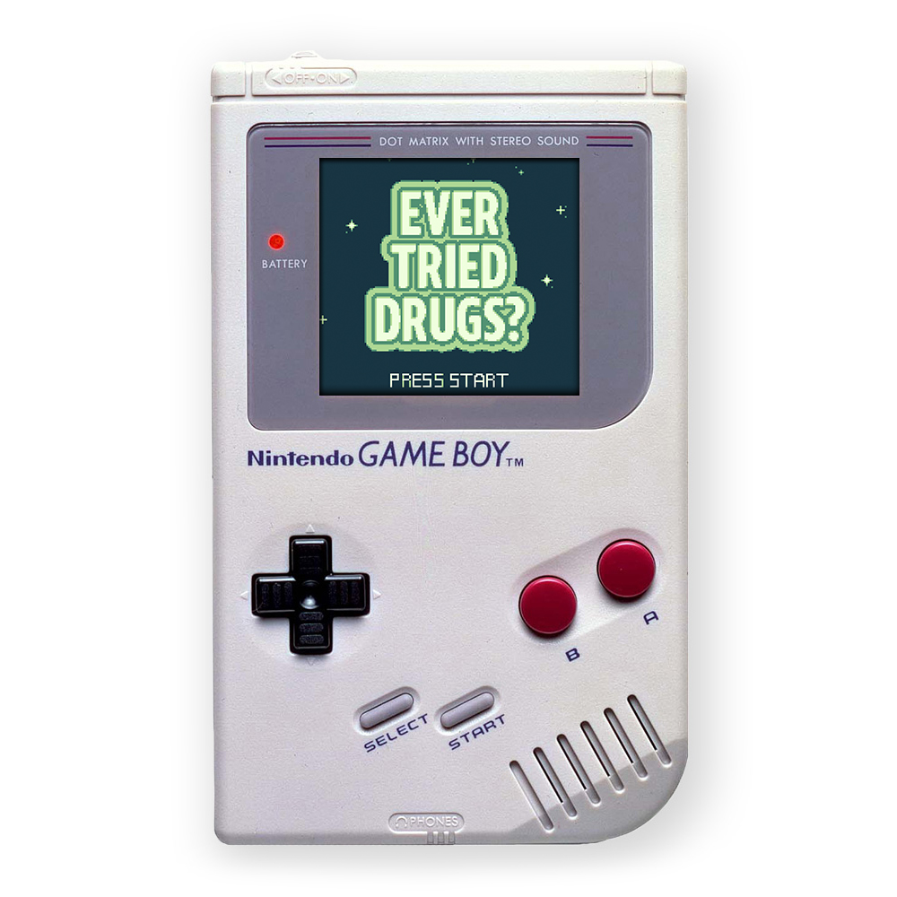 GAMEBOY HACK   Sure violent video games are fun, but have you Ever Tried Drugs?  A Non-violent walking adventure.