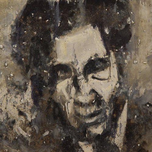 Jim Thompson (America's Spiritual Heroes), Adam Turl (2014). Oil, acrylic, cotton, ash, concrete on canvas.