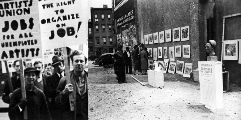 Left: Picketing artists. Source: Francis V. O'Connor, New Deal Art Projects (Washington, D.C.: Smithsonian Institution Press, 1972), 217. Right: Alley exhibition. Source: Archives of American Art, Smithsonian, Washington D.C