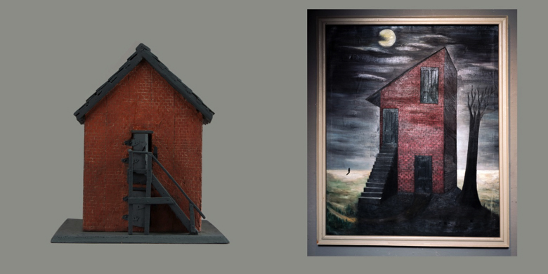 Left: Unknown Artist, Model, Jackson Co. Jail at Brownsville, 1939-1941. Right: Mickey Everett, Untitled/Gertrude Abercrombie's Lonely House, 2014