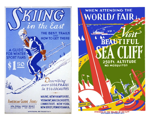 Left: Poster promoting winter sports in New England, American Guide Series, WPA. Right: WPAPoster promoting the town of Sea Cliff to 1939 New York World's Fair attendees