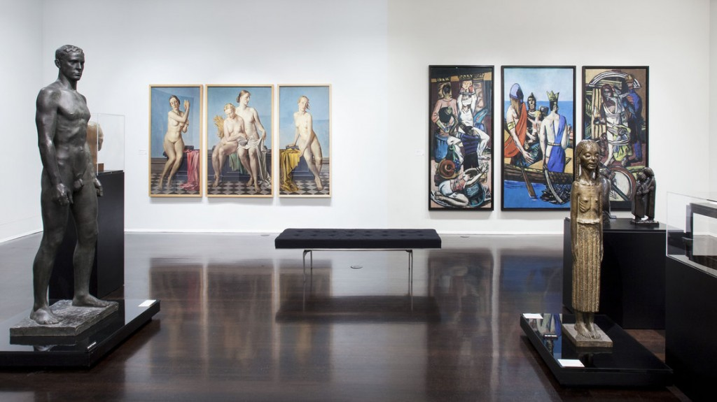 Installation view of the Degenerate Art exhibition at the Neue Galerie in New York — with official Nazi art seen on the left and modern art on the right
