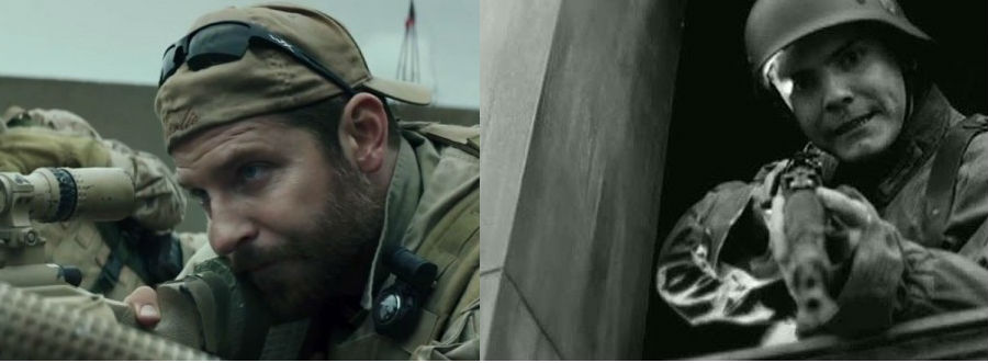 Left: Bradley Cooper as Chris Kylein American Sniper (Warner Bros. Pictures), Right:Daniel Brühl as Frederick Zoller in Inglorious Basterds (The Weinstein Company)